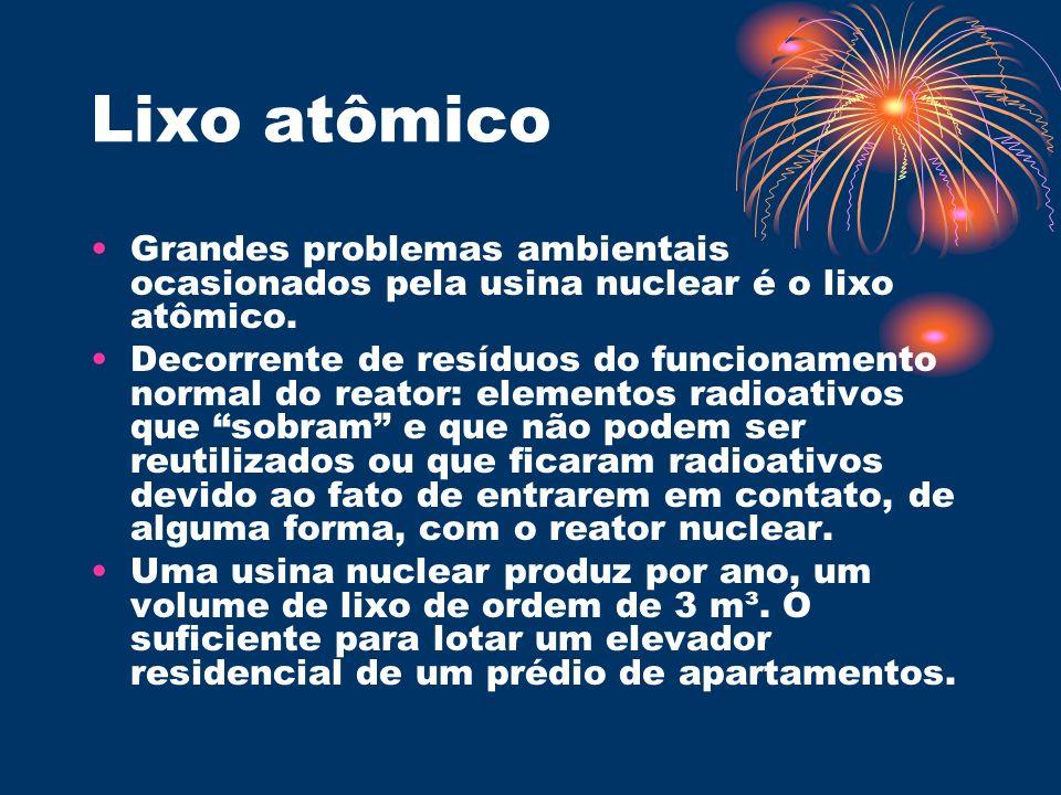 Lixo atômico Grandes problemas ambientais ocasionados pela usina nuclear é o lixo atômico. Decorrente de resíduos do funcionamento normal do reator: e