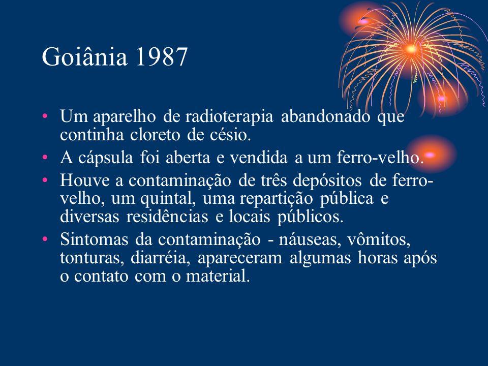 Goiânia 1987 Um aparelho de radioterapia abandonado que continha cloreto de césio. A cápsula foi aberta e vendida a um ferro-velho. Houve a contaminaç