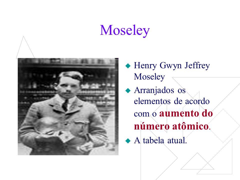 Moseley Ordem crescente de nº.atômico, ocorre uma periodicidade nas suas propriedades.