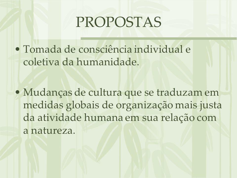 PROPOSTAS Tomada de consciência individual e coletiva da humanidade. Mudanças de cultura que se traduzam em medidas globais de organização mais justa