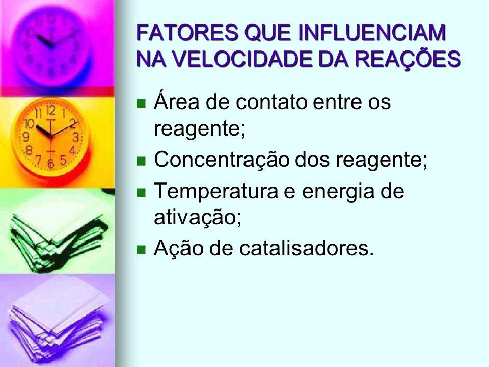 FATORES QUE INFLUENCIAM NA VELOCIDADE DA REAÇÕES Área de contato entre os reagente; Área de contato entre os reagente; Concentração dos reagente; Conc