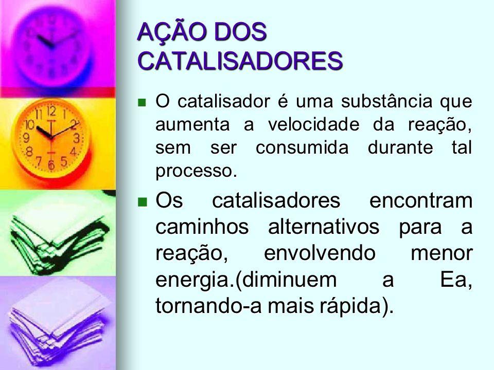 AÇÃO DOS CATALISADORES O catalisador é uma substância que aumenta a velocidade da reação, sem ser consumida durante tal processo. O catalisador é uma