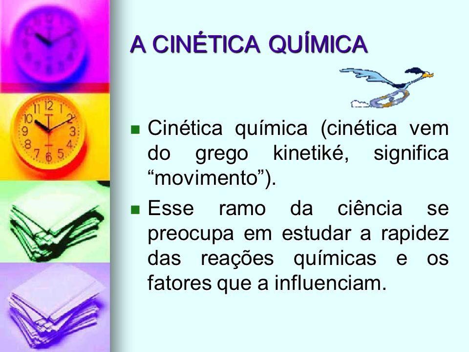 A CINÉTICA QUÍMICA Cinética química (cinética vem do grego kinetiké, significa movimento). Cinética química (cinética vem do grego kinetiké, significa