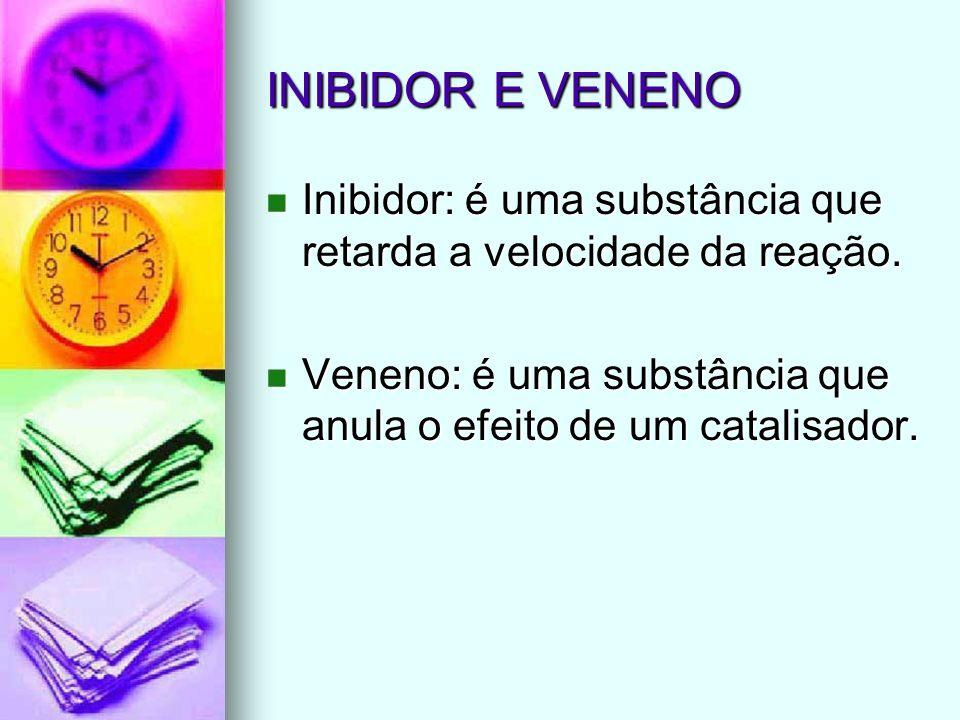 INIBIDOR E VENENO Inibidor: é uma substância que retarda a velocidade da reação. Inibidor: é uma substância que retarda a velocidade da reação. Veneno