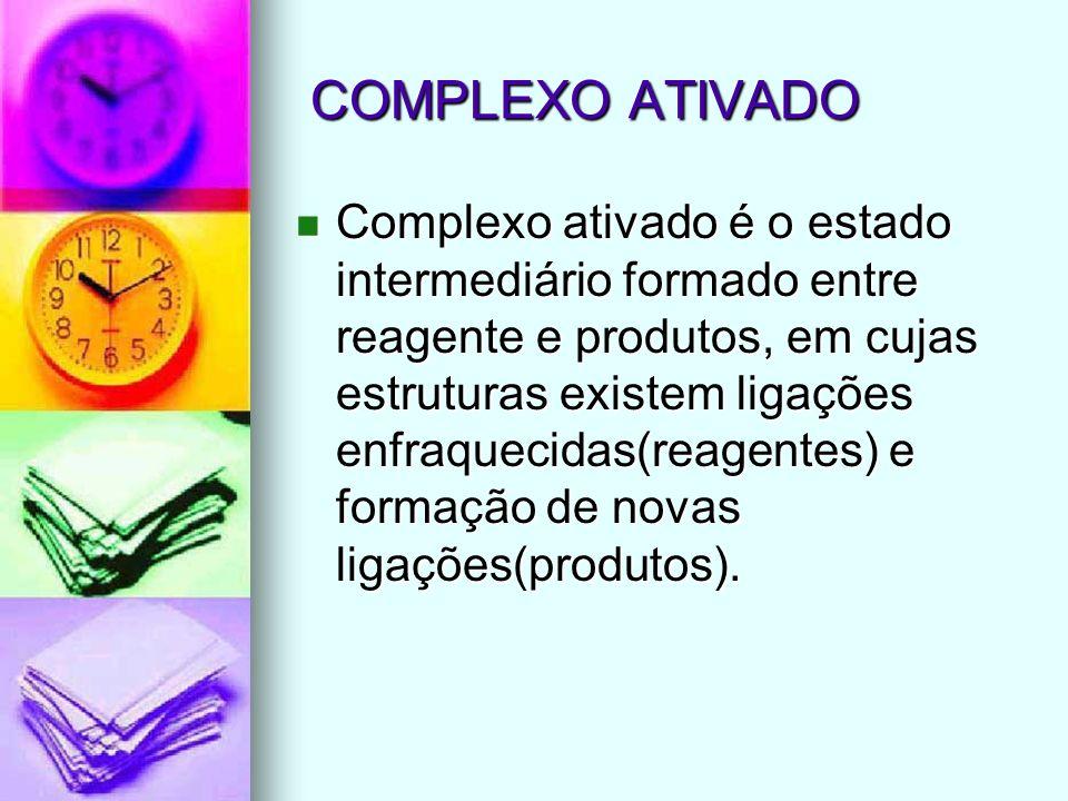 COMPLEXO ATIVADO COMPLEXO ATIVADO Complexo ativado é o estado intermediário formado entre reagente e produtos, em cujas estruturas existem ligações en