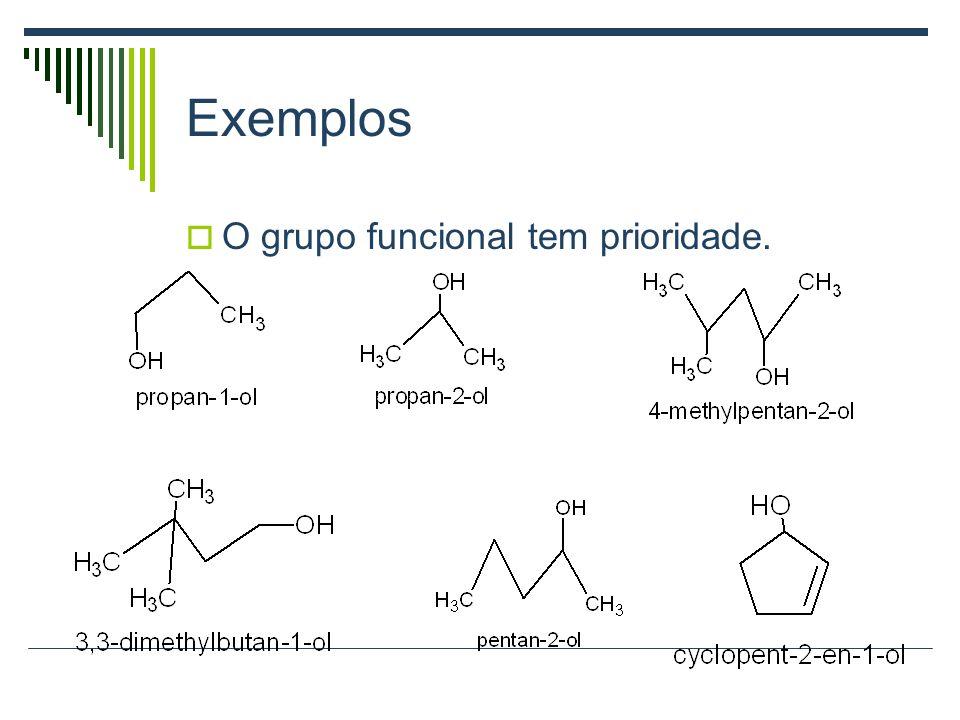 Exemplos H 3 COH Metanol H 3 CCH 2 OH Etanol Ciclo-pentanol