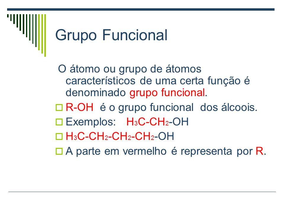 Grupo Funcional O átomo ou grupo de átomos característicos de uma certa função é denominado grupo funcional.