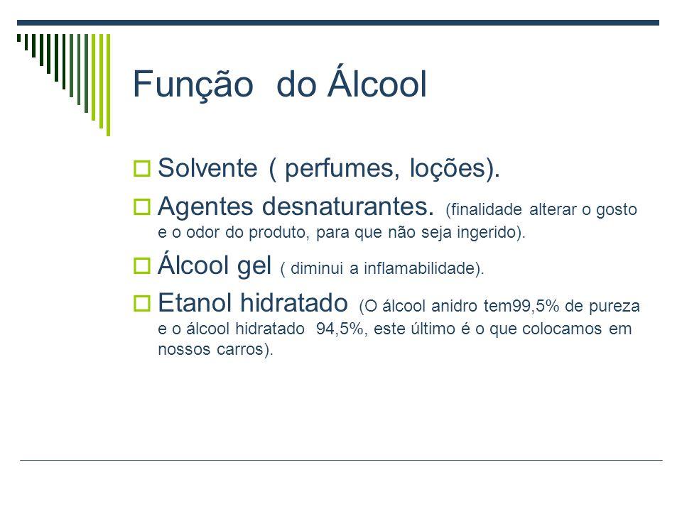 Função do Álcool Solvente ( perfumes, loções).Agentes desnaturantes.