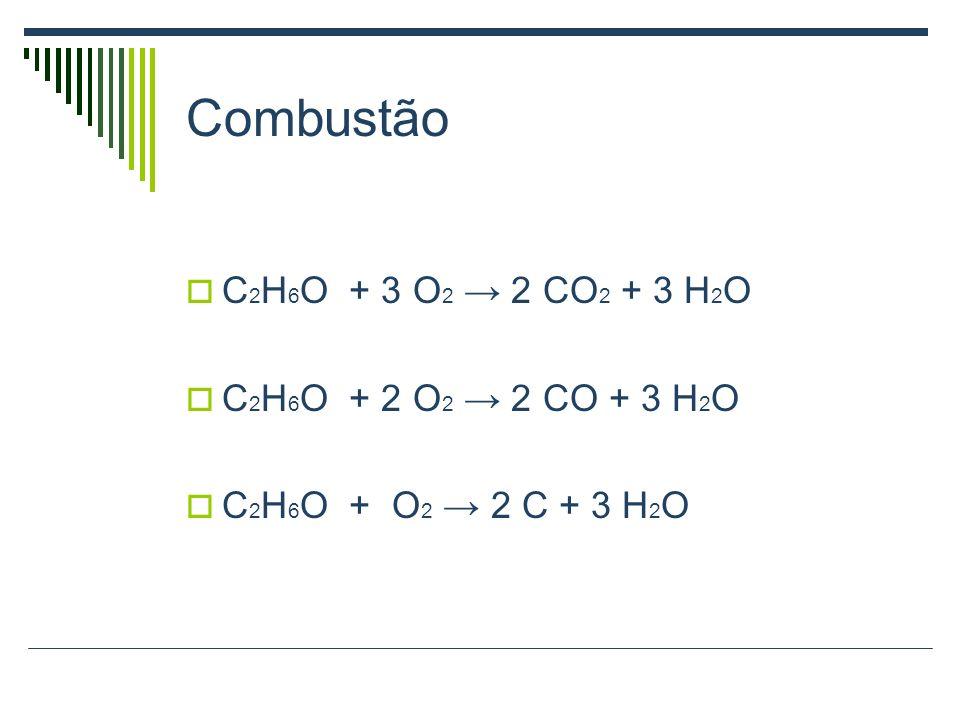Combustão C 2 H 6 O + 3 O 2 2 CO 2 + 3 H 2 O C 2 H 6 O + 2 O 2 2 CO + 3 H 2 O C 2 H 6 O + O 2 2 C + 3 H 2 O