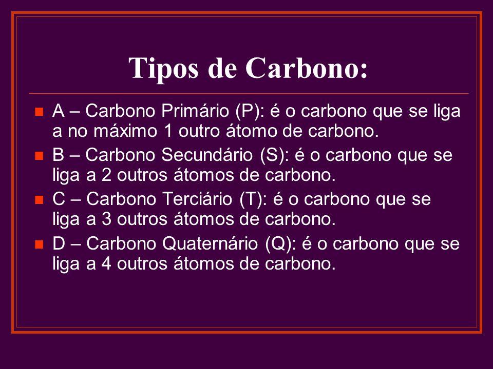 Tipos de Carbono: A – Carbono Primário (P): é o carbono que se liga a no máximo 1 outro átomo de carbono. B – Carbono Secundário (S): é o carbono que