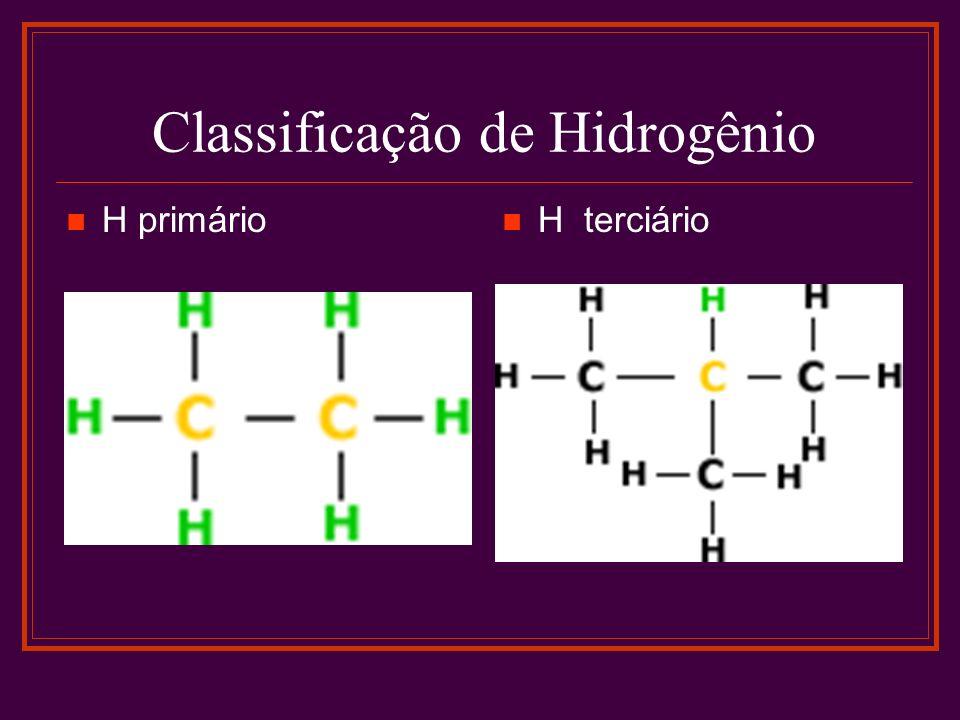 Classificação de Hidrogênio H primário H terciário