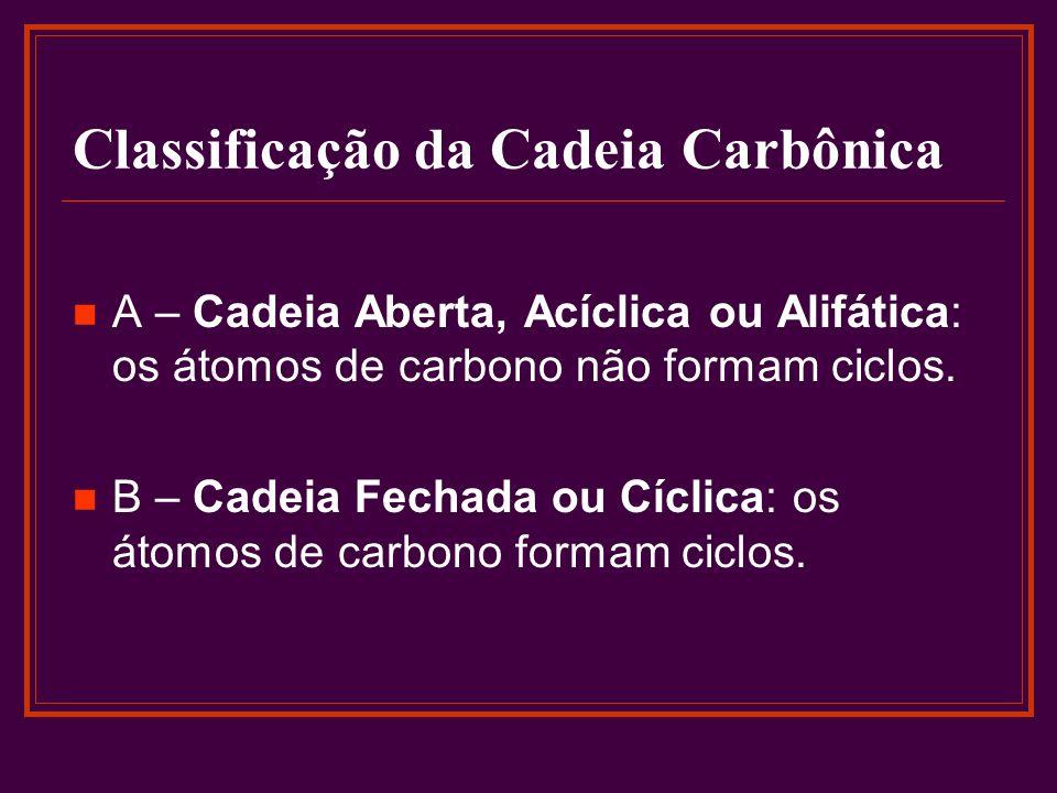 Classificação da Cadeia Carbônica A – Cadeia Aberta, Acíclica ou Alifática: os átomos de carbono não formam ciclos. B – Cadeia Fechada ou Cíclica: os
