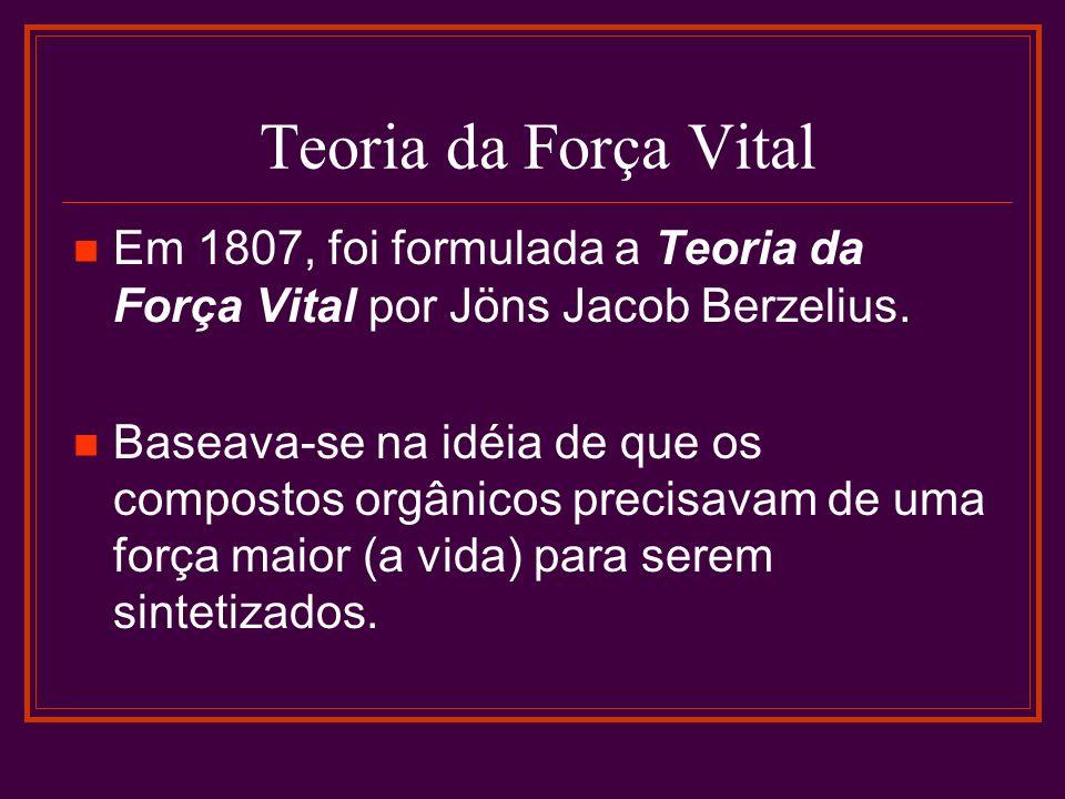 Teoria da Força Vital Em 1807, foi formulada a Teoria da Força Vital por Jöns Jacob Berzelius. Baseava-se na idéia de que os compostos orgânicos preci