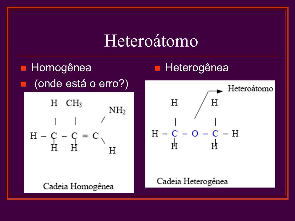 Heteroátomo Homogênea (onde está o erro?) Heterogênea