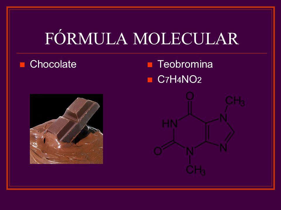 FÓRMULA MOLECULAR Chocolate Teobromina C 7 H 4 NO 2