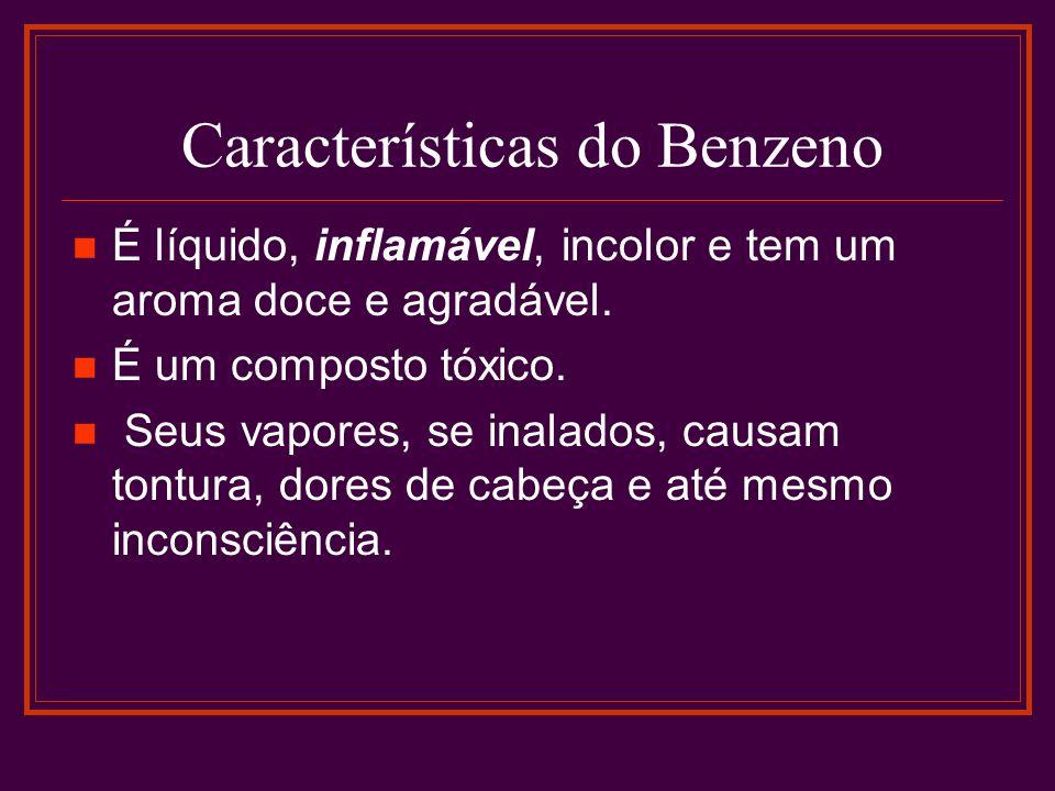 Características do Benzeno É líquido, inflamável, incolor e tem um aroma doce e agradável. É um composto tóxico. Seus vapores, se inalados, causam ton