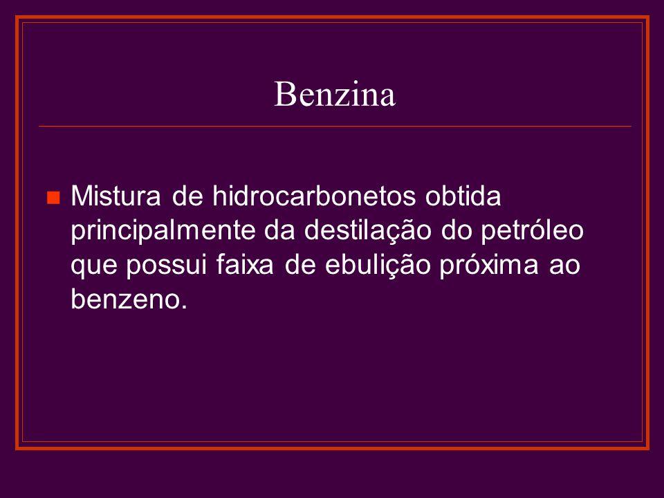 Benzina Mistura de hidrocarbonetos obtida principalmente da destilação do petróleo que possui faixa de ebulição próxima ao benzeno.