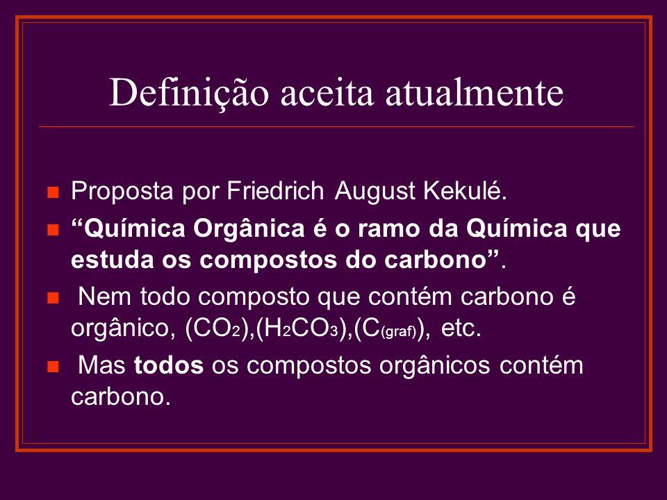 Definição aceita atualmente Proposta por Friedrich August Kekulé. Química Orgânica é o ramo da Química que estuda os compostos do carbono. Nem todo co