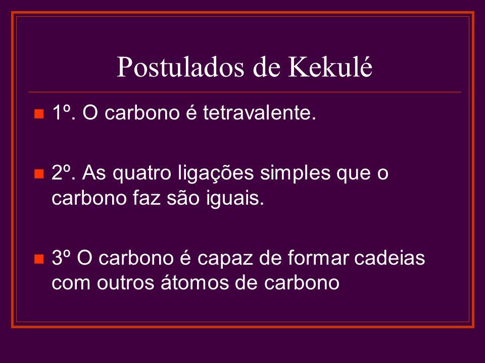 Postulados de Kekulé 1º. O carbono é tetravalente. 2º. As quatro ligações simples que o carbono faz são iguais. 3º O carbono é capaz de formar cadeias