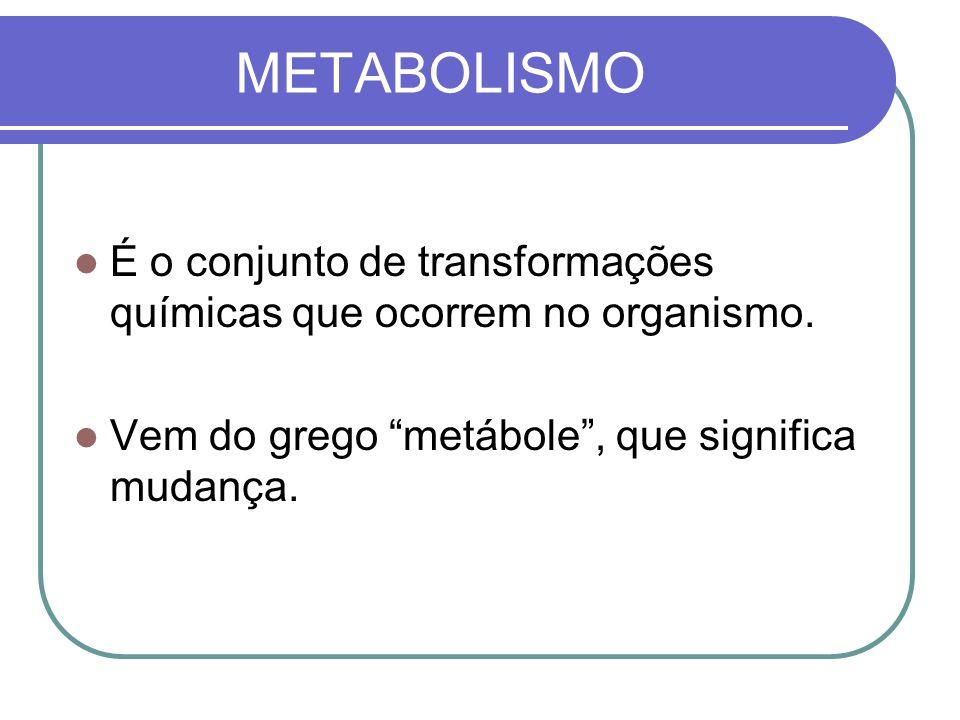 METABOLISMO É o conjunto de transformações químicas que ocorrem no organismo. Vem do grego metábole, que significa mudança.