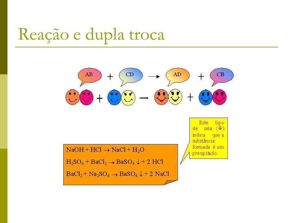 Reação de dupla troca. Estas reações ocorrem quando duas substâncias compostas resolvem fazer uma troca e formam-se duas novas substâncias compostas.