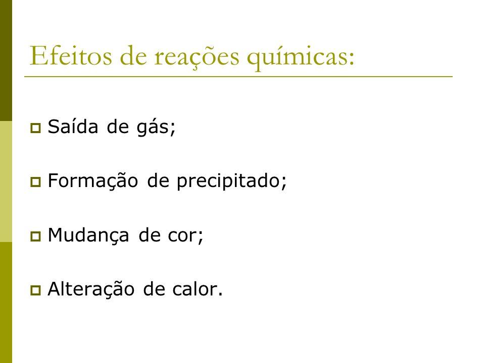 Efeitos de reações químicas: Saída de gás; Formação de precipitado; Mudança de cor; Alteração de calor.