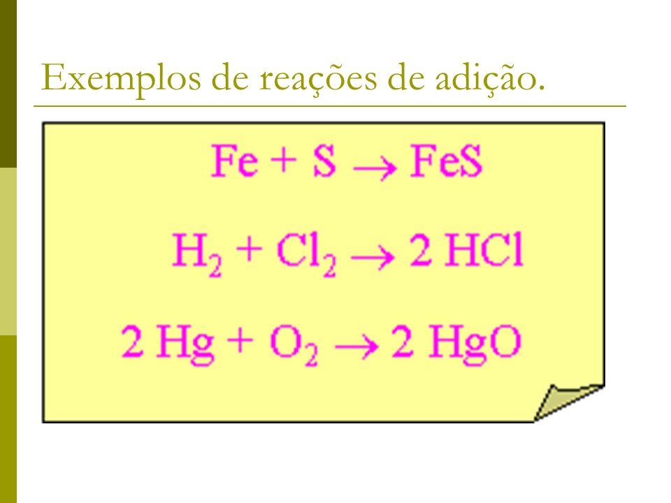 Reação de síntese ou adição Nessa reação um único composto é obtido a partir de dois compostos.