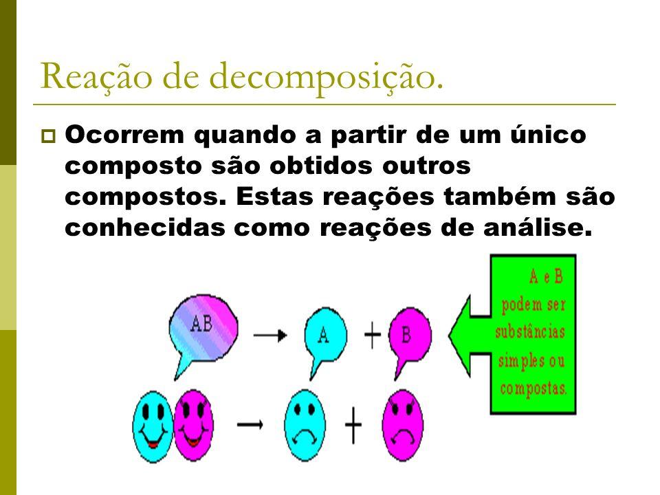 Reação de decomposição.Ocorrem quando a partir de um único composto são obtidos outros compostos.