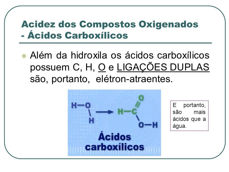 Acidez dos Compostos Oxigenados - Ácidos Carboxílicos Além da hidroxila os ácidos carboxílicos possuem C, H, O e LIGAÇÕES DUPLAS são, portanto, elétro