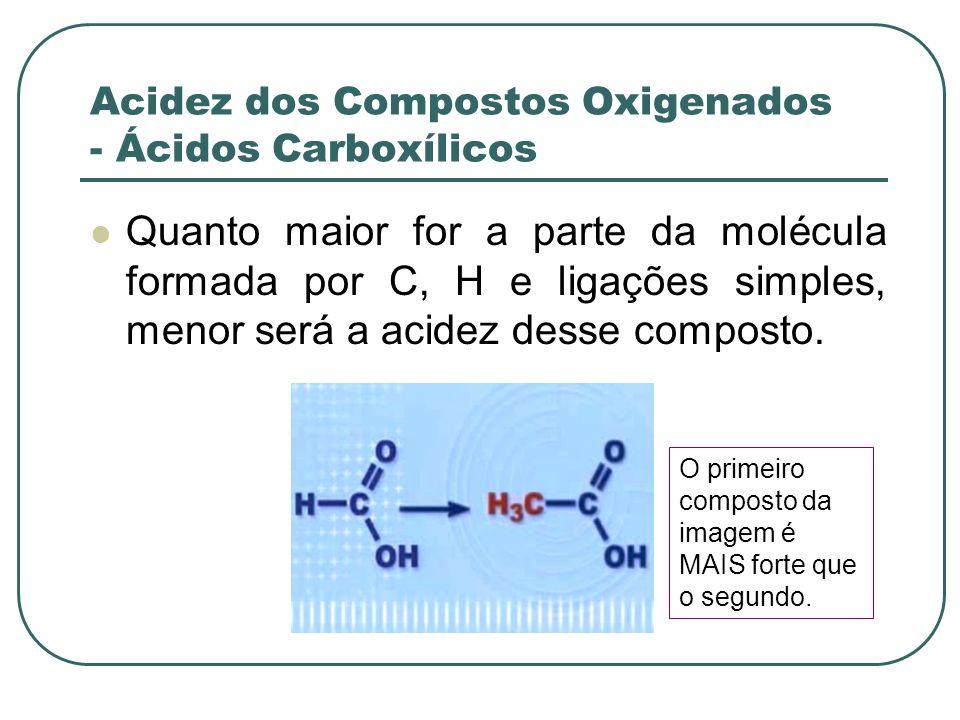 Acidez dos Compostos Oxigenados - Ácidos Carboxílicos Quanto maior for a parte da molécula formada por C, H e ligações simples, menor será a acidez de