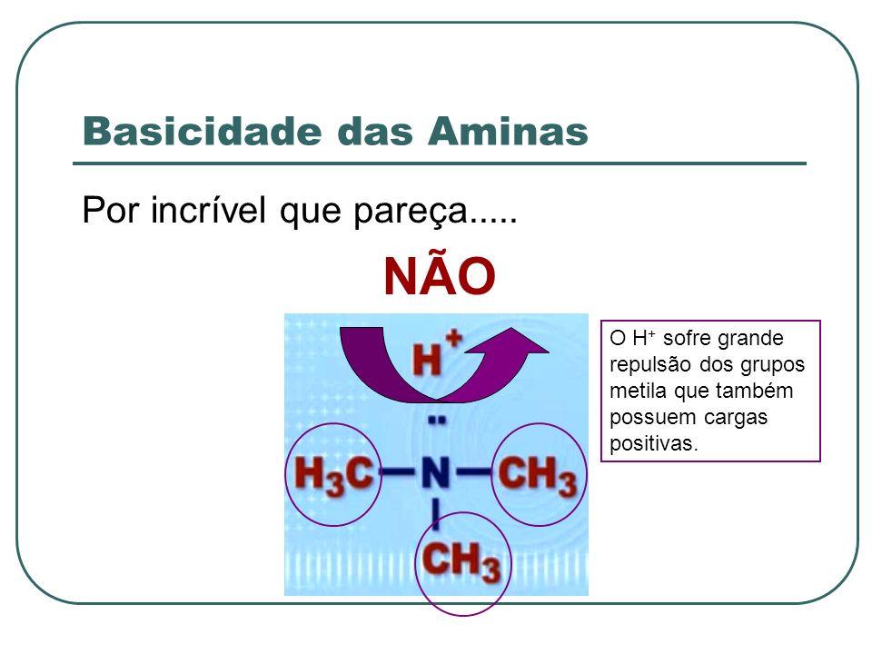 Basicidade das Aminas Por incrível que pareça..... NÃO O H + sofre grande repulsão dos grupos metila que também possuem cargas positivas.