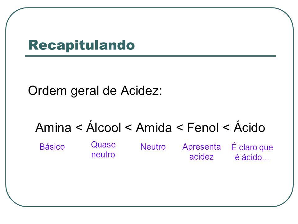 Recapitulando Ordem geral de Acidez: Amina < Álcool < Amida < Fenol < Ácido Básico Quase neutro NeutroApresenta acidez É claro que é ácido...