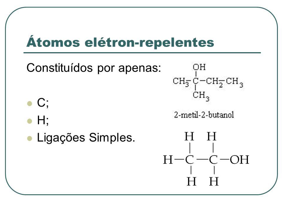 Átomos elétron-atraentes Constituídos por ligações duplas, triplas ou dativas; Ou possuem algum átomo que não seja apenas C e H.