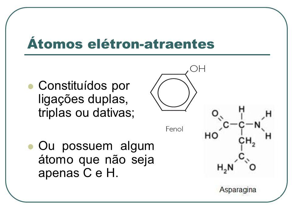 Elétron-atraente: a acidez; a basicidade; Elétron-repelente: a acidez; a basicidade.
