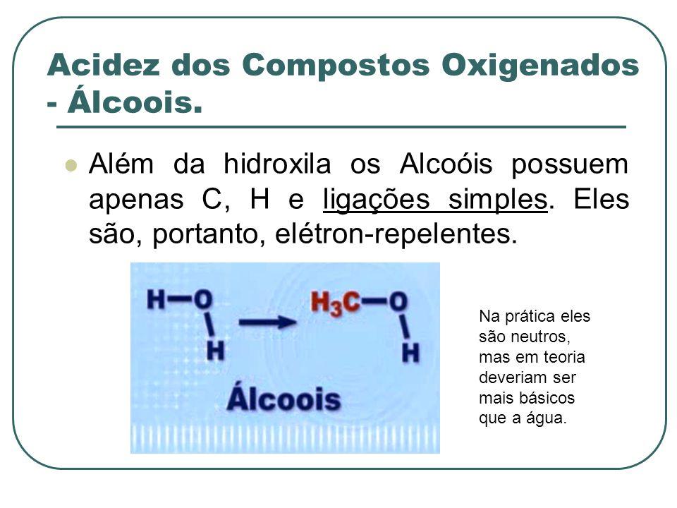 Acidez dos Compostos Oxigenados - Álcoois. Além da hidroxila os Alcoóis possuem apenas C, H e ligações simples. Eles são, portanto, elétron-repelentes