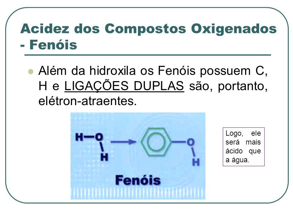 Acidez dos Compostos Oxigenados - Fenóis Além da hidroxila os Fenóis possuem C, H e LIGAÇÕES DUPLAS são, portanto, elétron-atraentes. Logo, ele será m