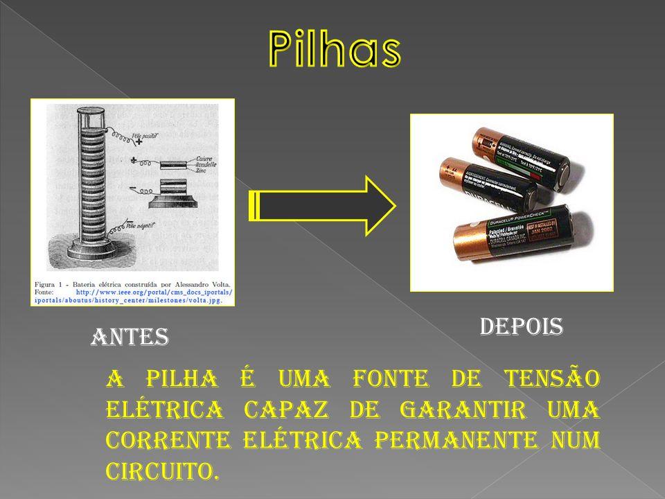 A pilha é uma fonte de tensão elétrica capaz de garantir uma corrente elétrica permanente num circuito. Depois Antes