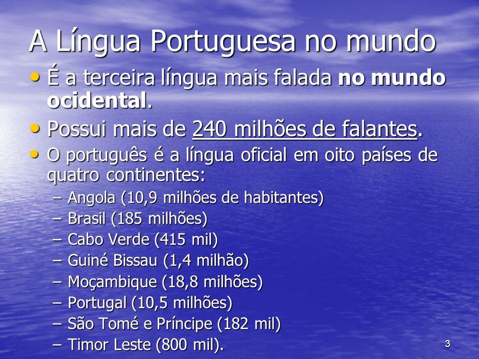 3 A Língua Portuguesa no mundo É a terceira língua mais falada no mundo ocidental. É a terceira língua mais falada no mundo ocidental. Possui mais de