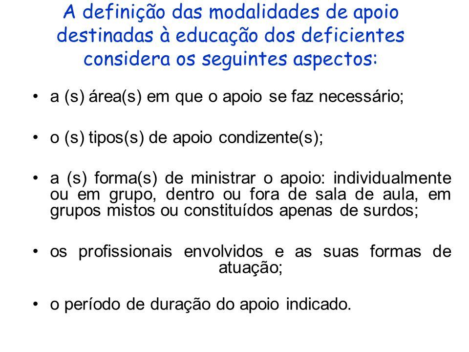 A definição das modalidades de apoio destinadas à educação dos deficientes considera os seguintes aspectos: a (s) área(s) em que o apoio se faz necess
