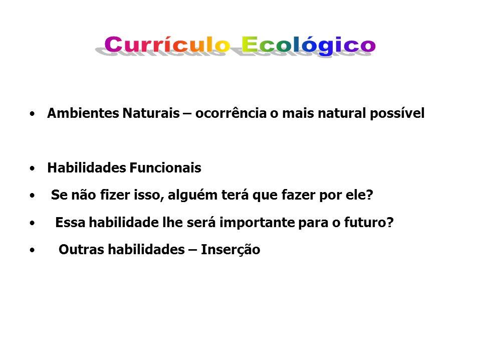 Ambientes Naturais – ocorrência o mais natural possível Habilidades Funcionais Se não fizer isso, alguém terá que fazer por ele? Essa habilidade lhe s