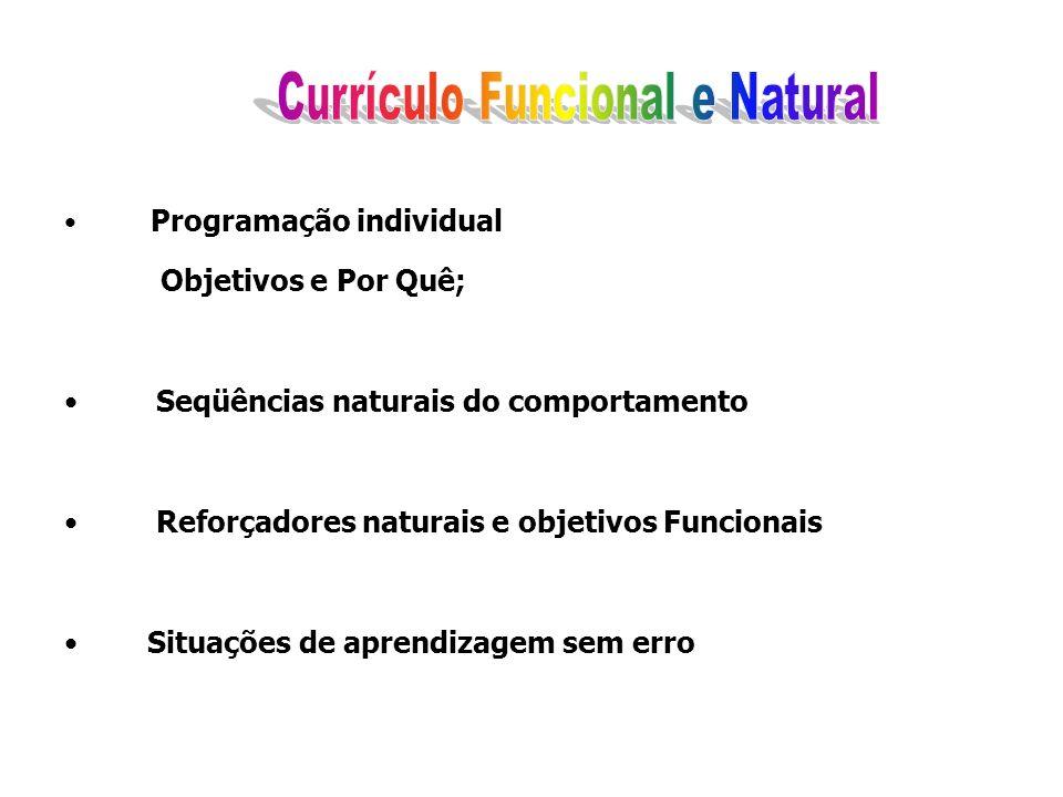 Programação individual Objetivos e Por Quê; Seqüências naturais do comportamento Reforçadores naturais e objetivos Funcionais Situações de aprendizage