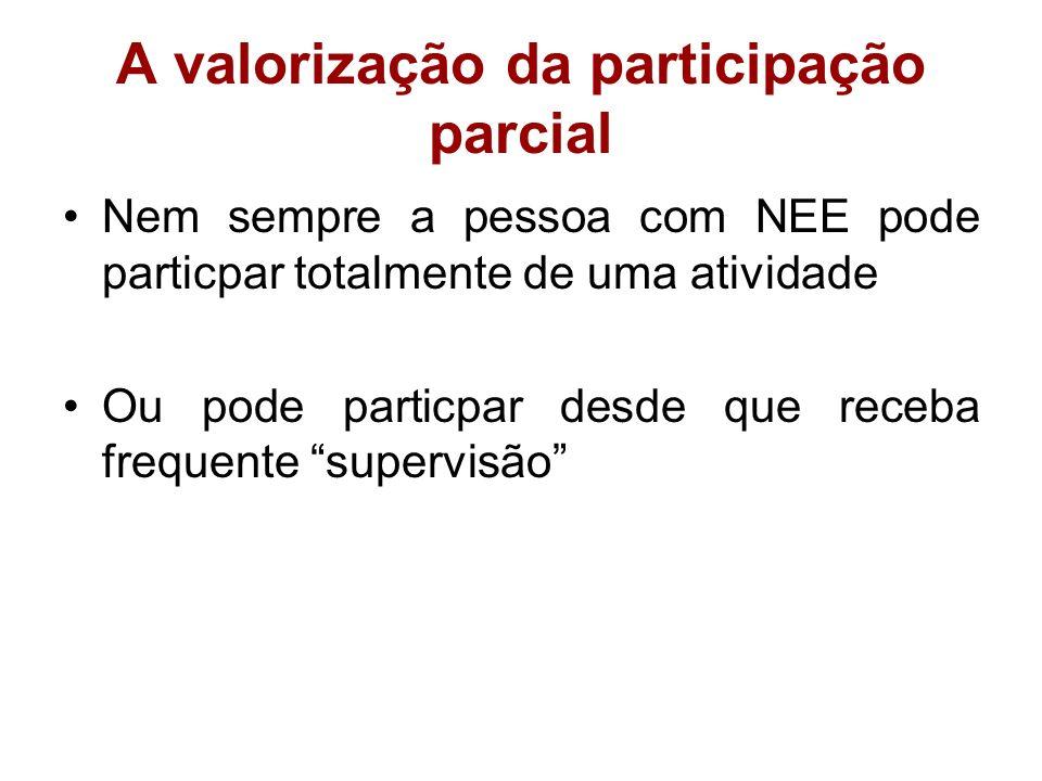 A valorização da participação parcial Nem sempre a pessoa com NEE pode particpar totalmente de uma atividade Ou pode particpar desde que receba freque