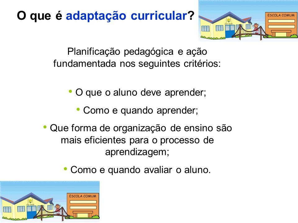 O que é adaptação curricular? Planificação pedagógica e ação fundamentada nos seguintes critérios: O que o aluno deve aprender; Como e quando aprender