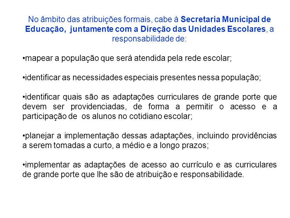 No âmbito das atribuições formais, cabe à Secretaria Municipal de Educação, juntamente com a Direção das Unidades Escolares, a responsabilidade de: ma
