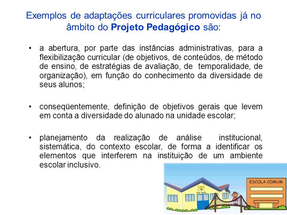 Exemplos de adaptações curriculares promovidas já no âmbito do Projeto Pedagógico são: a abertura, por parte das instâncias administrativas, para a fl