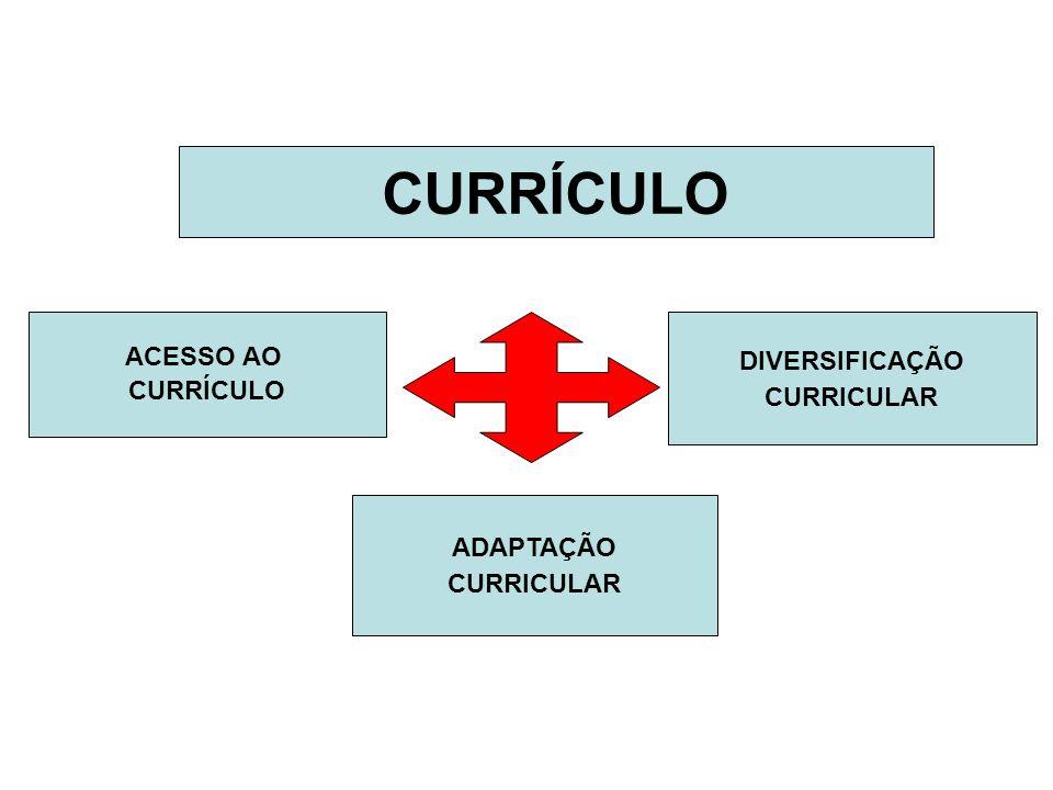 CURRÍCULO ACESSO AO CURRÍCULO DIVERSIFICAÇÃO CURRICULAR ADAPTAÇÃO CURRICULAR