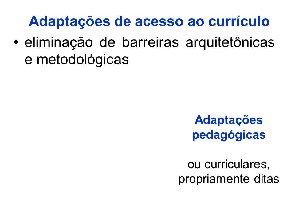 Adaptações de acesso ao currículo eliminação de barreiras arquitetônicas e metodológicas Adaptações pedagógicas ou curriculares, propriamente ditas