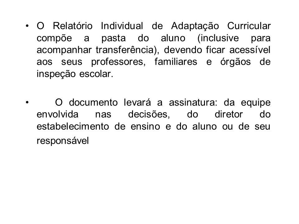 O Relatório Individual de Adaptação Curricular compõe a pasta do aluno (inclusive para acompanhar transferência), devendo ficar acessível aos seus pro