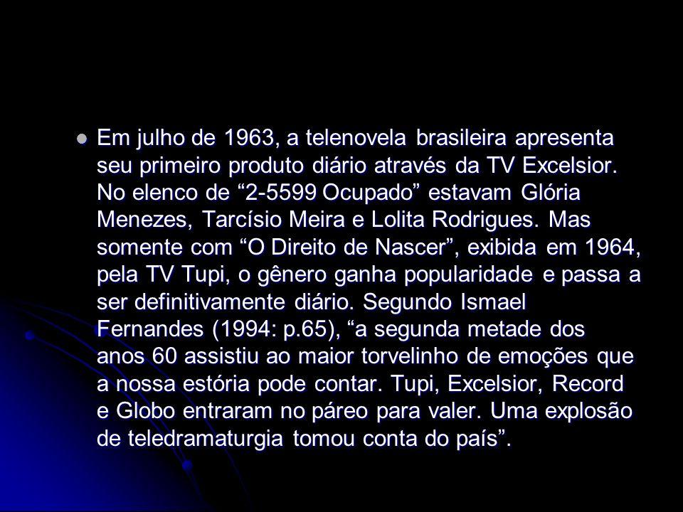 Em julho de 1963, a telenovela brasileira apresenta seu primeiro produto diário através da TV Excelsior. No elenco de 2-5599 Ocupado estavam Glória Me