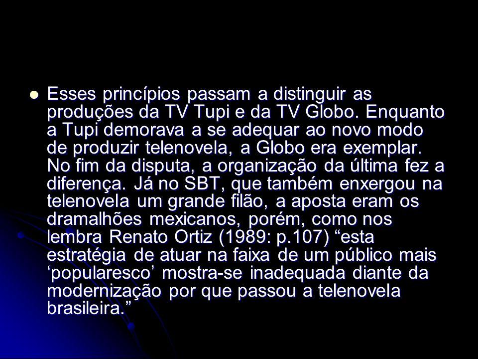 Esses princípios passam a distinguir as produções da TV Tupi e da TV Globo. Enquanto a Tupi demorava a se adequar ao novo modo de produzir telenovela,